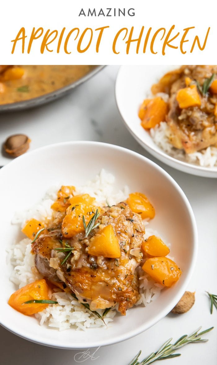 Apricot chicken over white rice in two white bowls