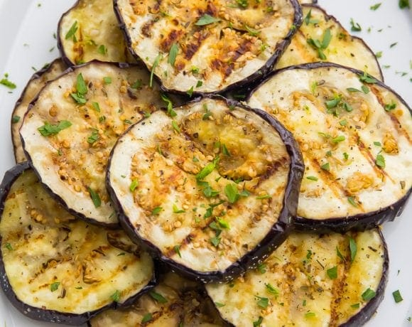 A plate of grilled eggplant