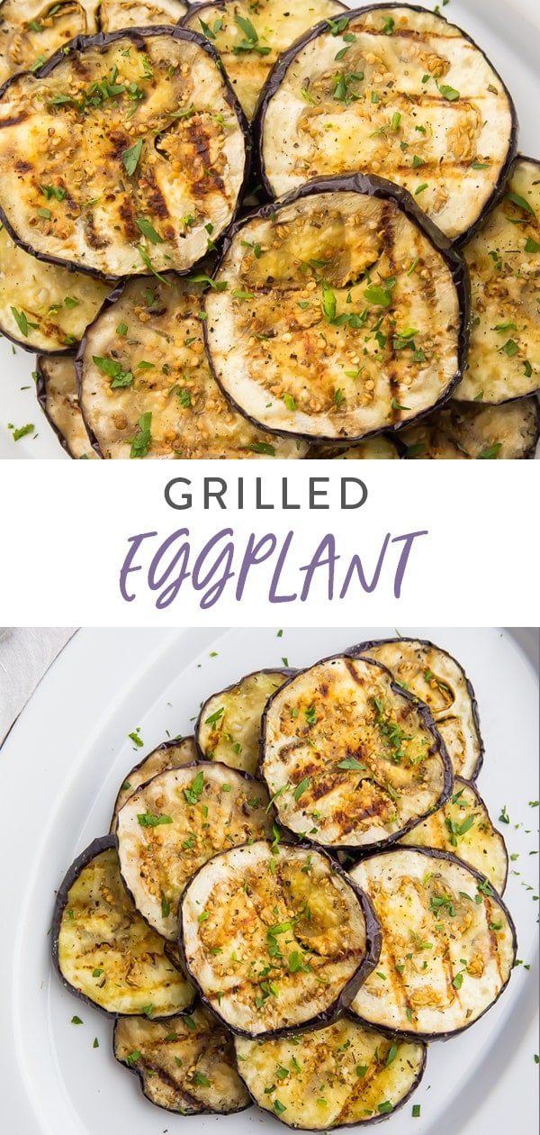 Grilled eggplant recipe Pinterest image