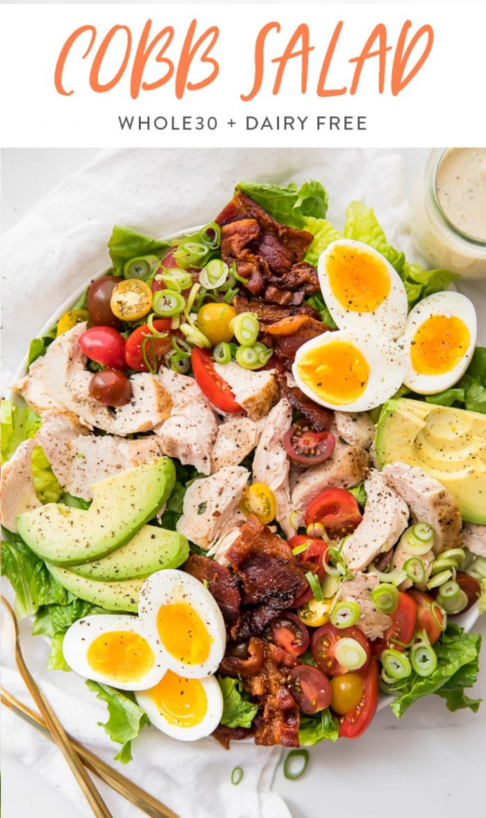 Healthy Chicken Cobb Salad Pinterest graphic