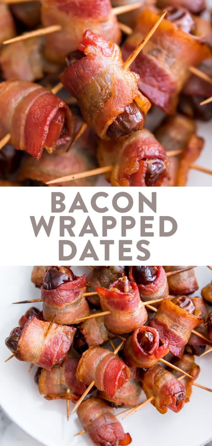 Bacon Wrapped Dates Pinterest graphic