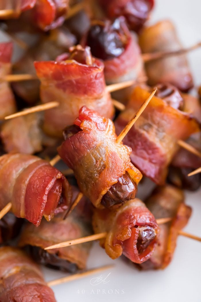 Close up of a pile of bacon wrapped dates