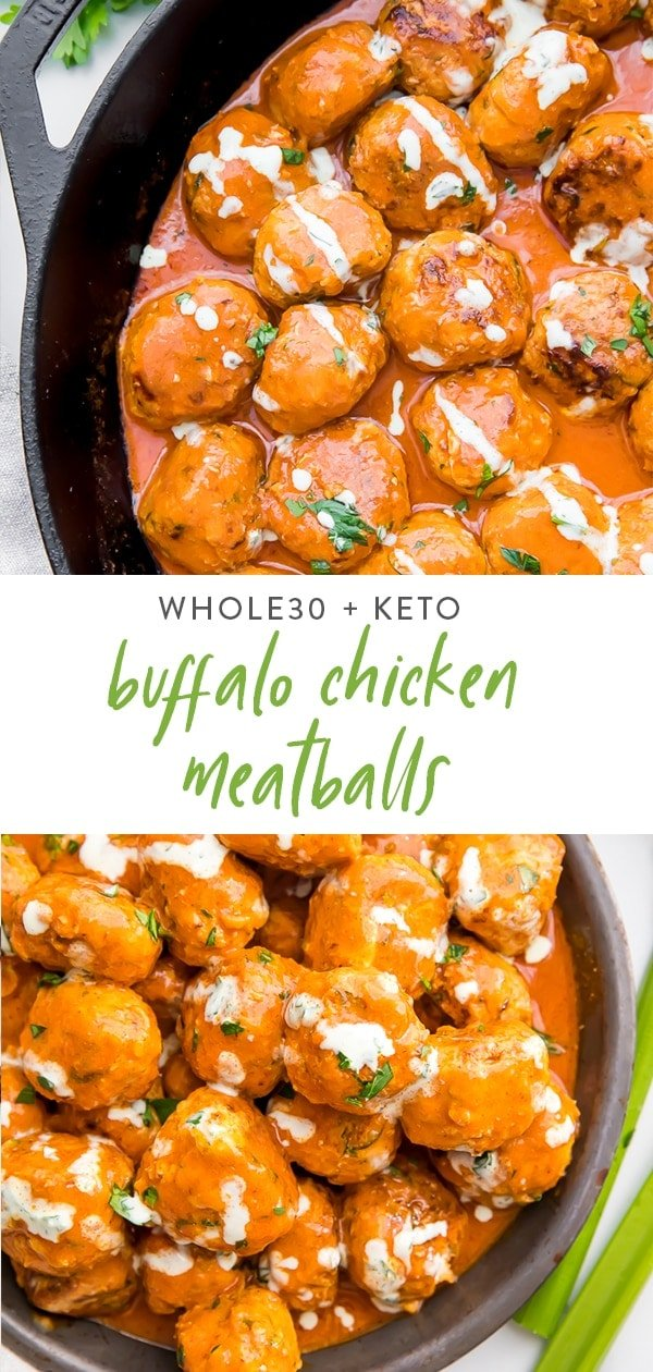 Buffalo chicken meatballs Pinterest graphic
