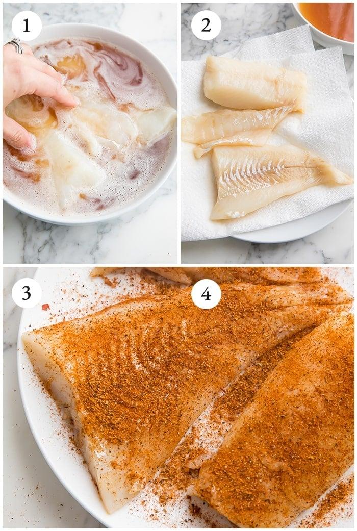Process shots for marinating and seasoning the fish