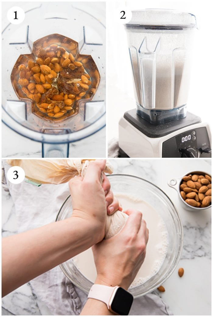 How to make almond milk instructions grphic