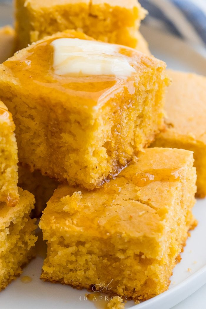 Gluten free cornbread stacked on a plate