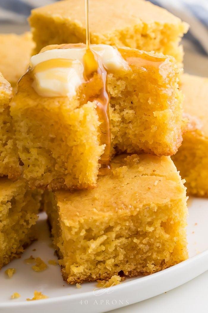 Sqaures of gluten free cornbread