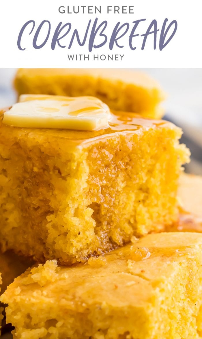 Gluten free cornbread with honey Pinterest graphic