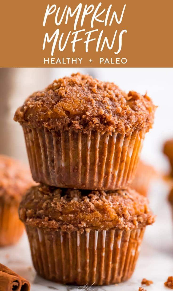 Healthy pumpkin muffins Pinterest graphic