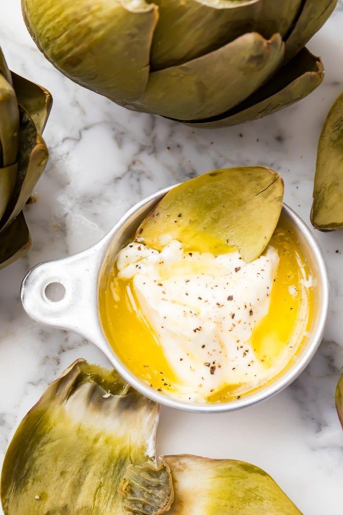 Artichoke leaf in butter