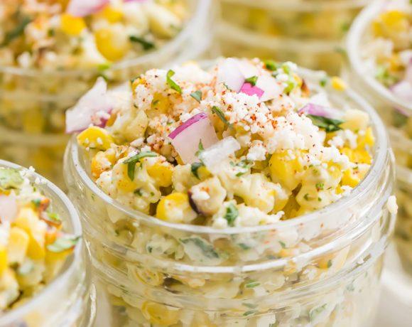 Jars of Mexican street corn salad