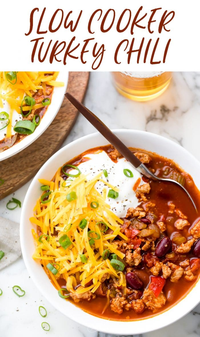 Slow Cooker Turkey Chili Pinterest graphic