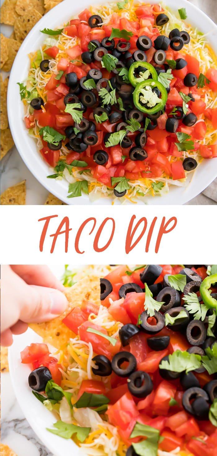 Taco dip Pinterest graphic