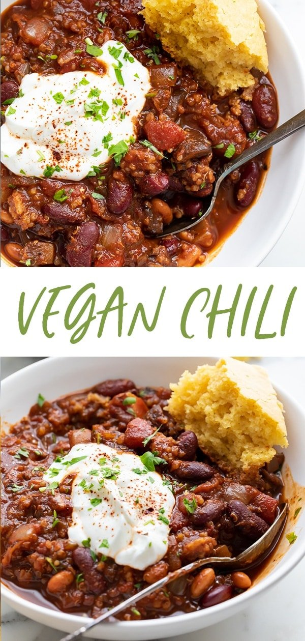 Vegan chili Pinterest graphic