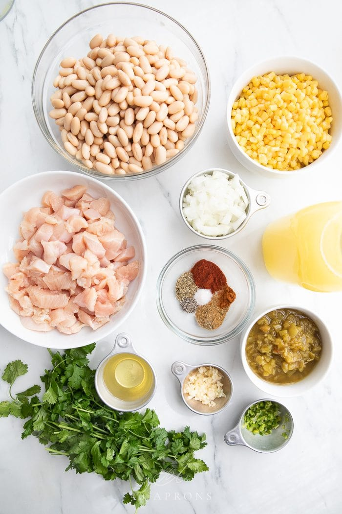 Ingredients to make the dish on a white background