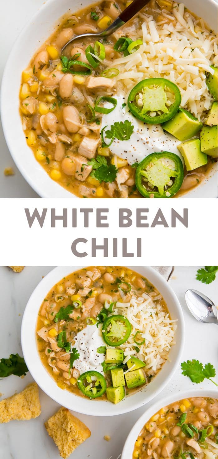 White bean chili Pinterest graphic