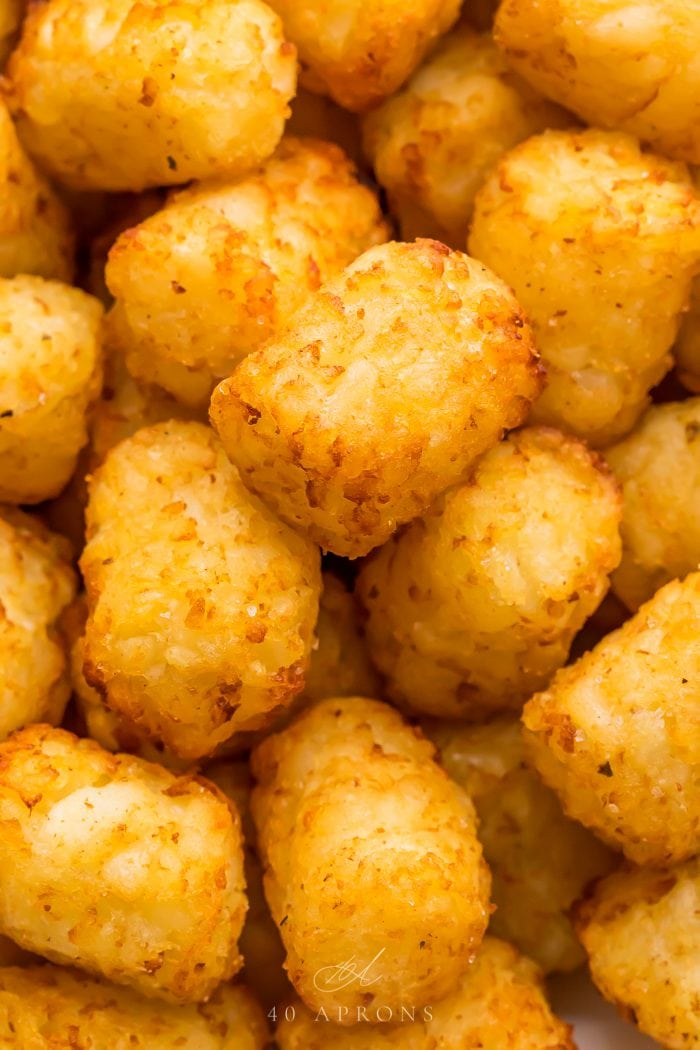 Close up of air fryer tater tots