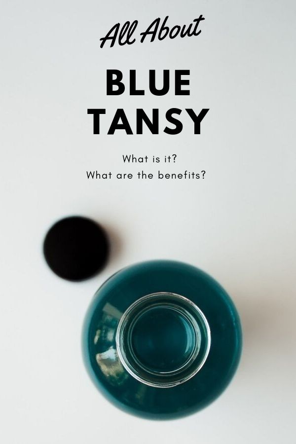 All About Blue Tansy Essential Oil Blog Graphic depicting a bottle with blue tansy body oil