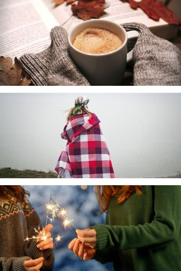 a photo collage demostrating the concept of hygge