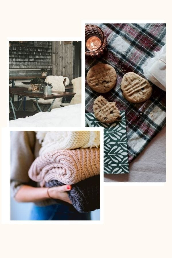 a photo collage depicting various examples of the Danish concept hygge like woven blankets, fur chairs and homemade cookies