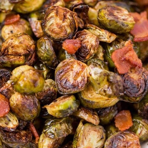 Roasted sprouts with bacon