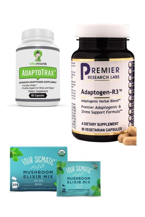a photo collage of the best adaptogen supplements