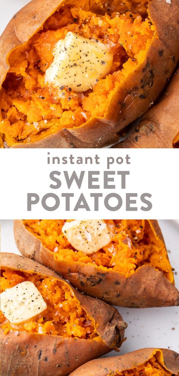 Instant Pot sweet potatoes Pinterest graphic