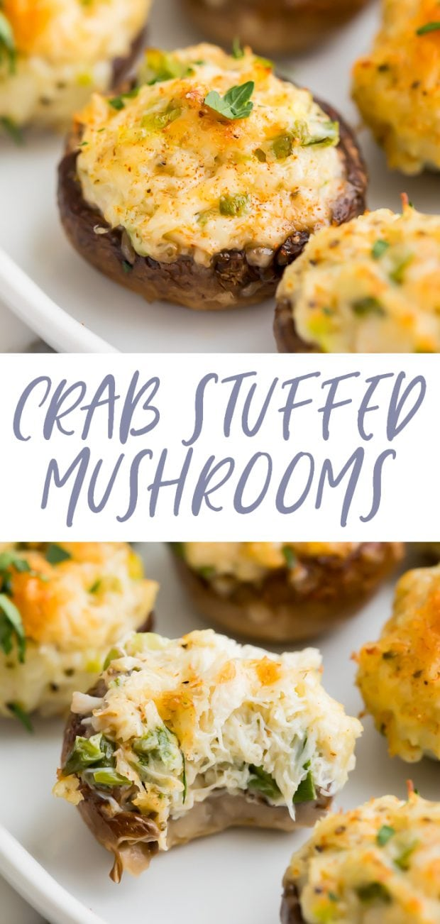 Crab stuffed mushrooms Pinterest graphic