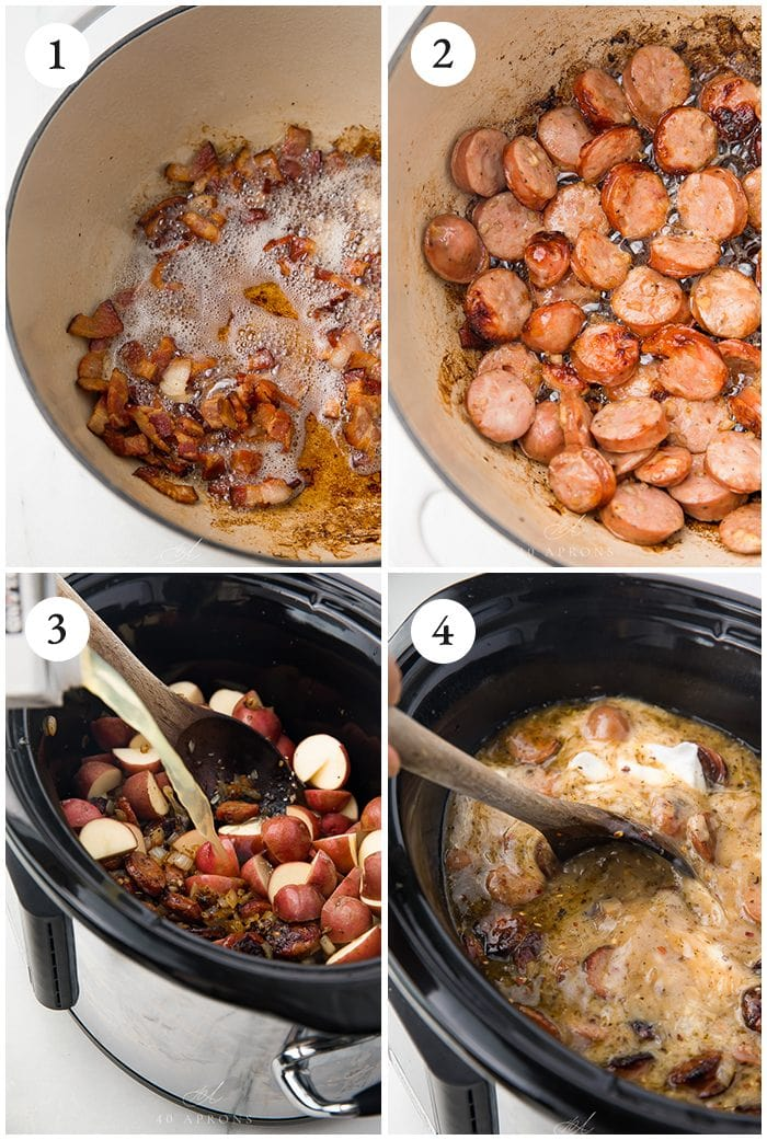 Process shots to show how to make crock pot zuppa toscana