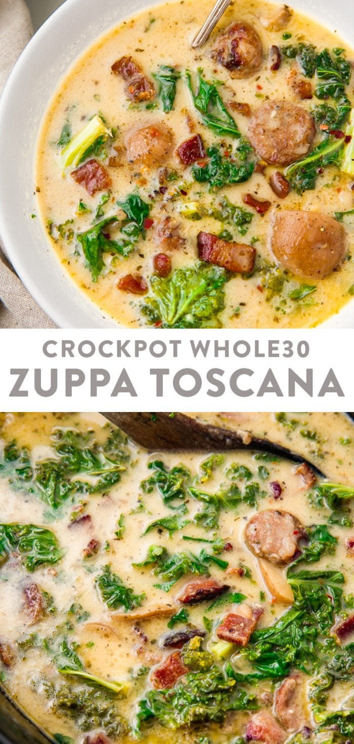 Crockpot Whole30 Zuppa Toscana Pinterest graphic