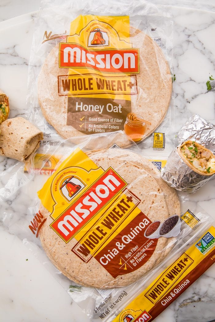 Mission Whole Wheat + Tortillas Honey Oat and Chia Quinoa on a marble kitchen counter