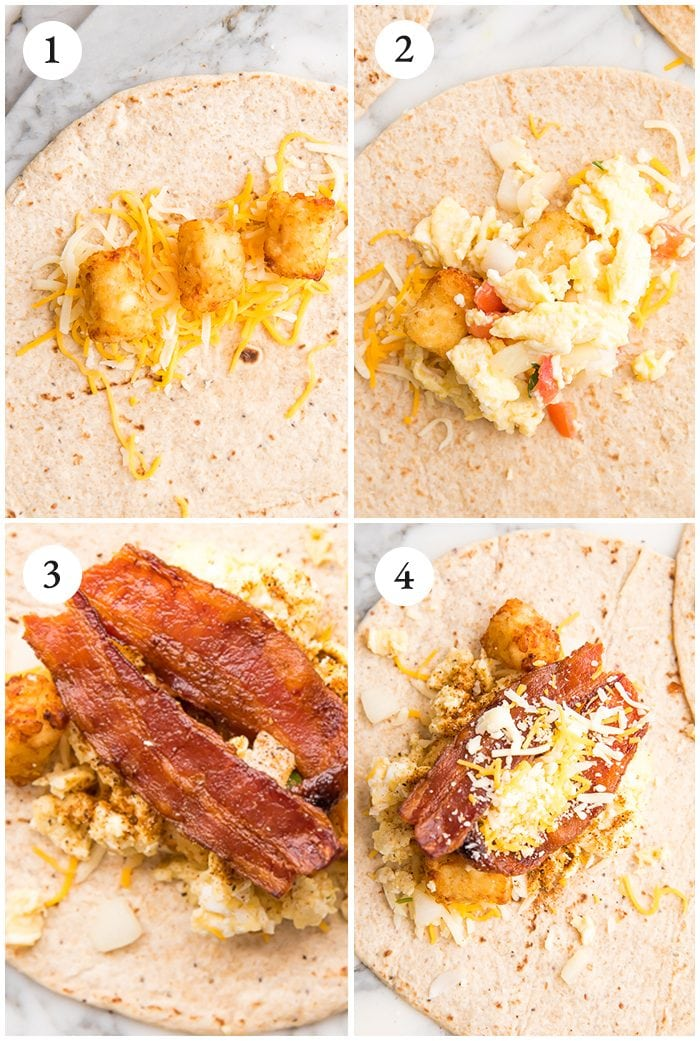 a step-by-step photo collage showing how to assemble a healthy freezer breakfast burrito
