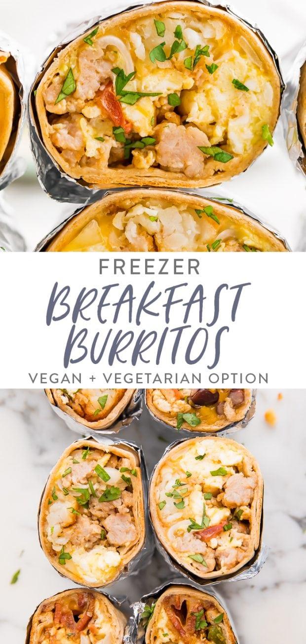Freezer breakfast burritos Pinterest graphic
