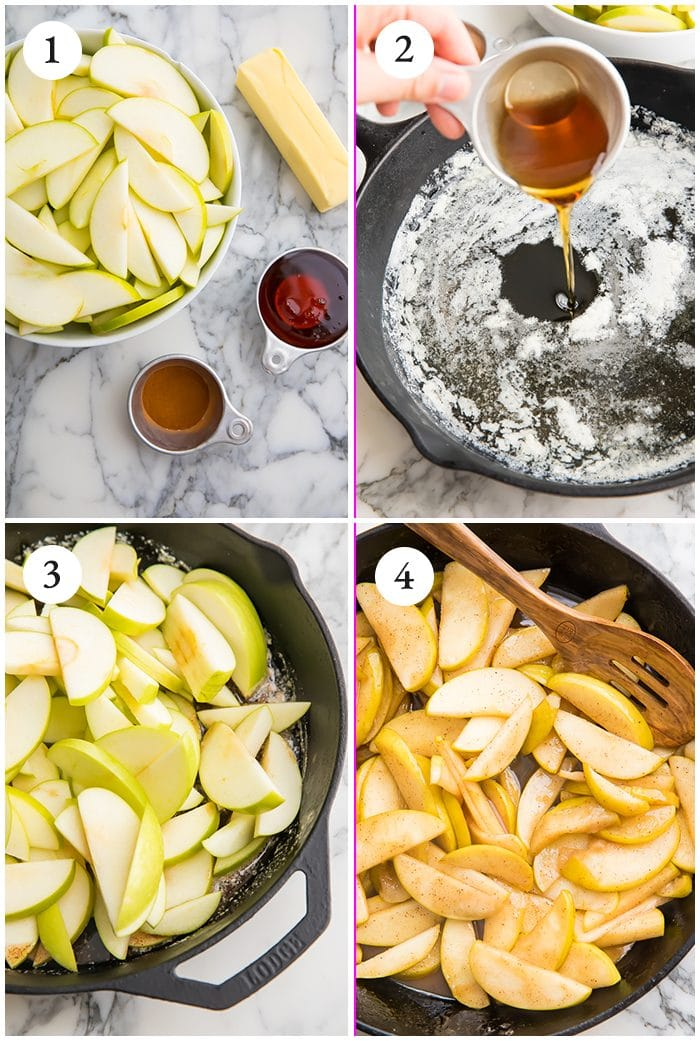 4 process shots to show how to make classic fried apples