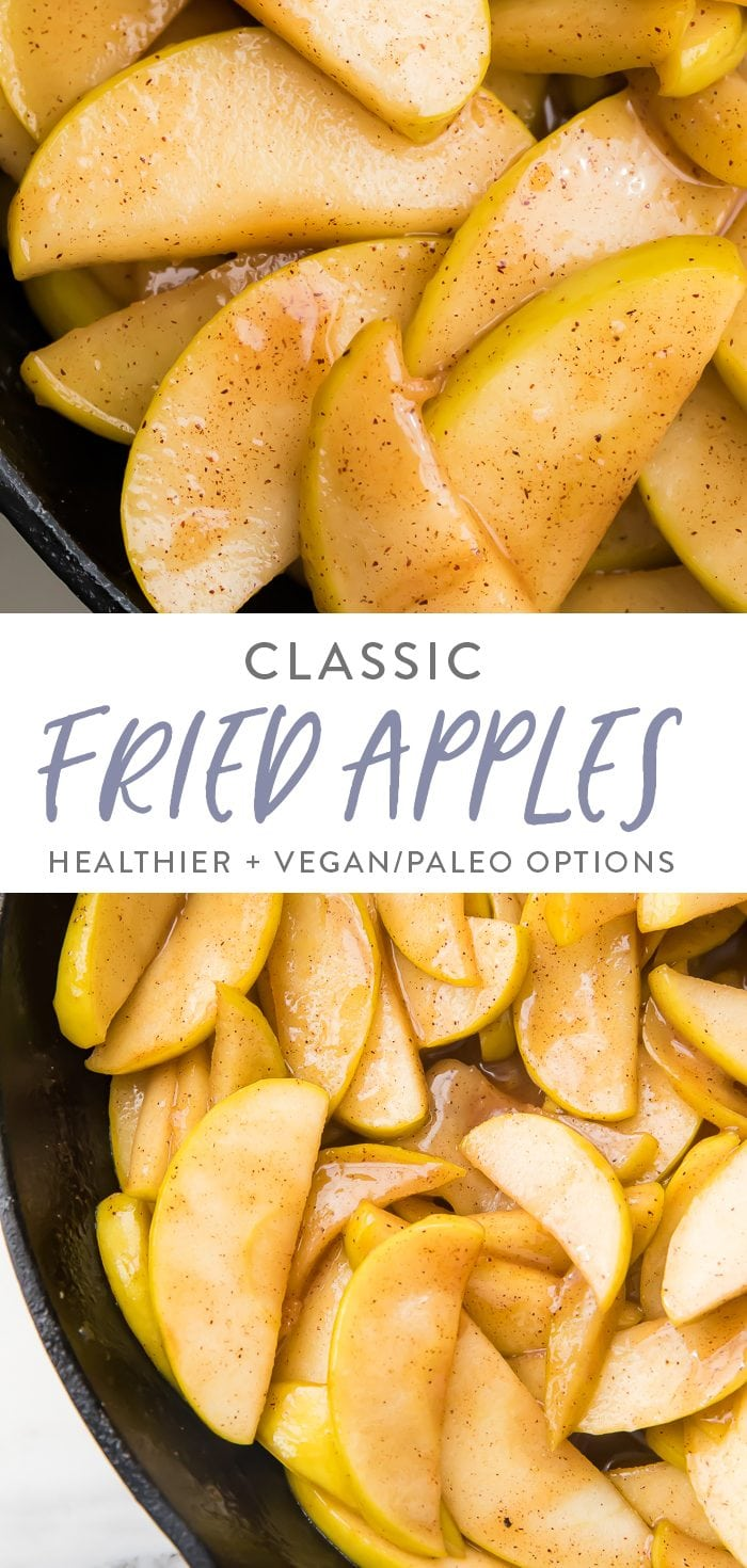 Two images of fried apples separated by the text title for pinterest.