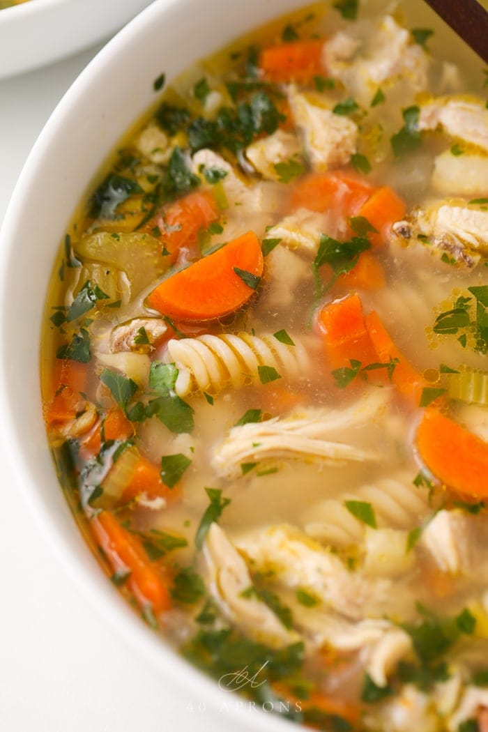 Close up of chicken noodle soup