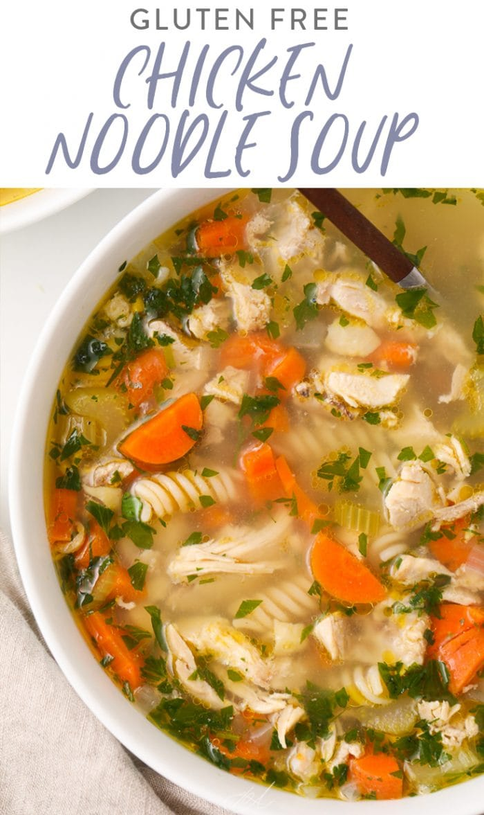 Pinterest graphic. gluten free chicken noodle soup with text overlay