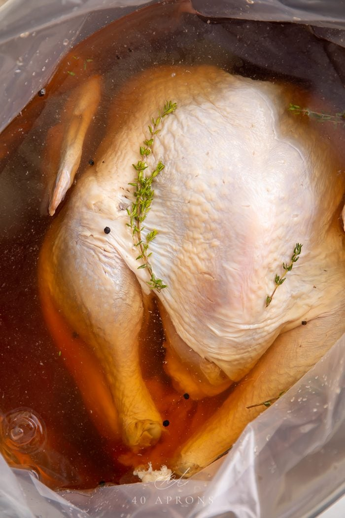 Close up of a turkey brining in a large container