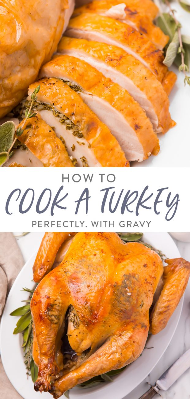 How to cook a turkey and make gravy Pinterest graphic