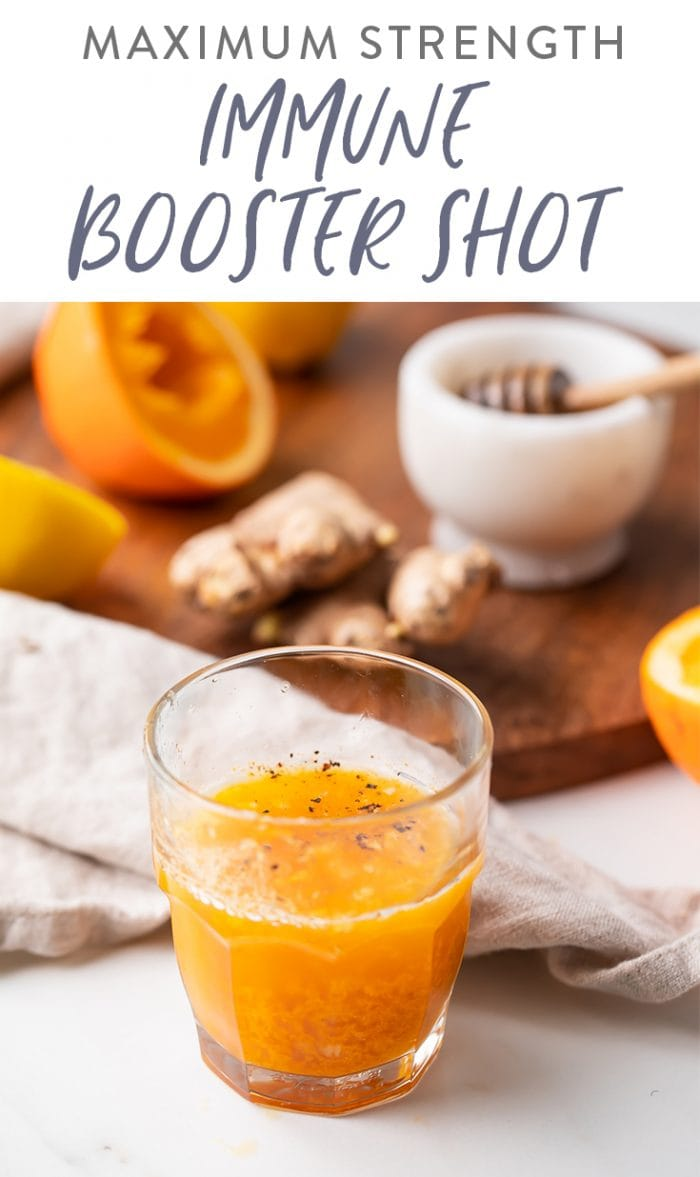 Immune booster shot recipe Pinterest graphic