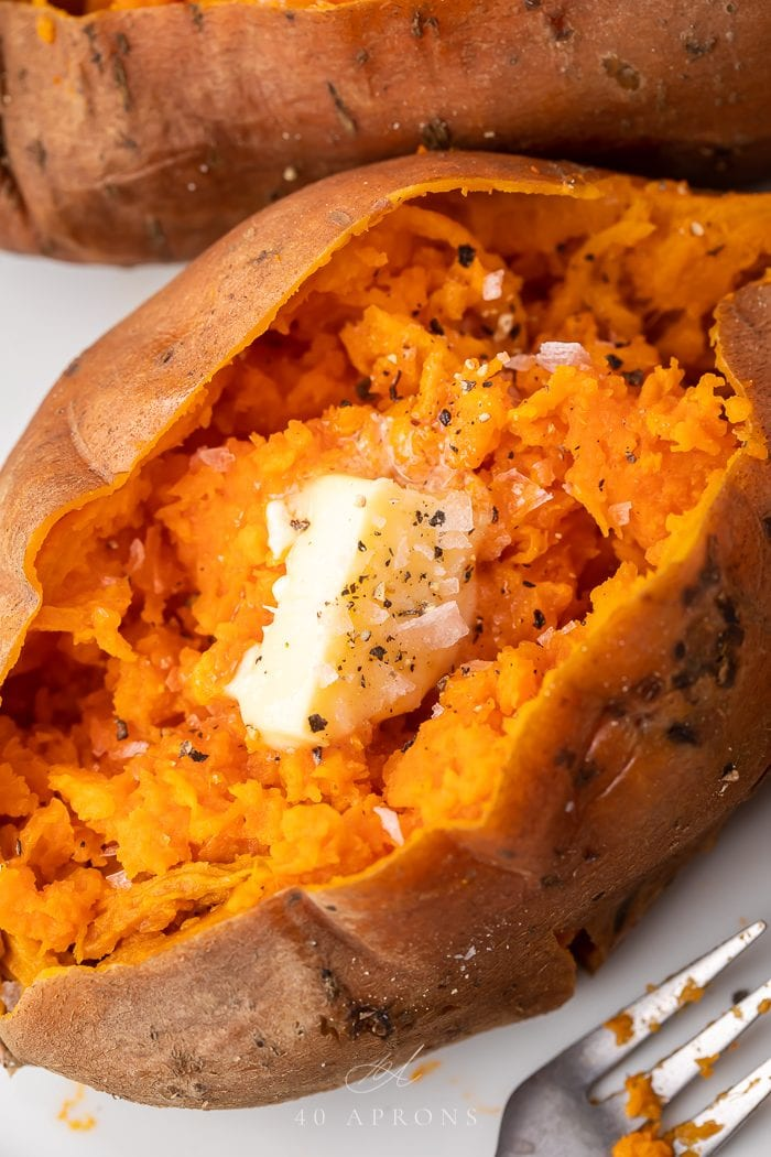 Close up of the inside of an instant pot sweet potato