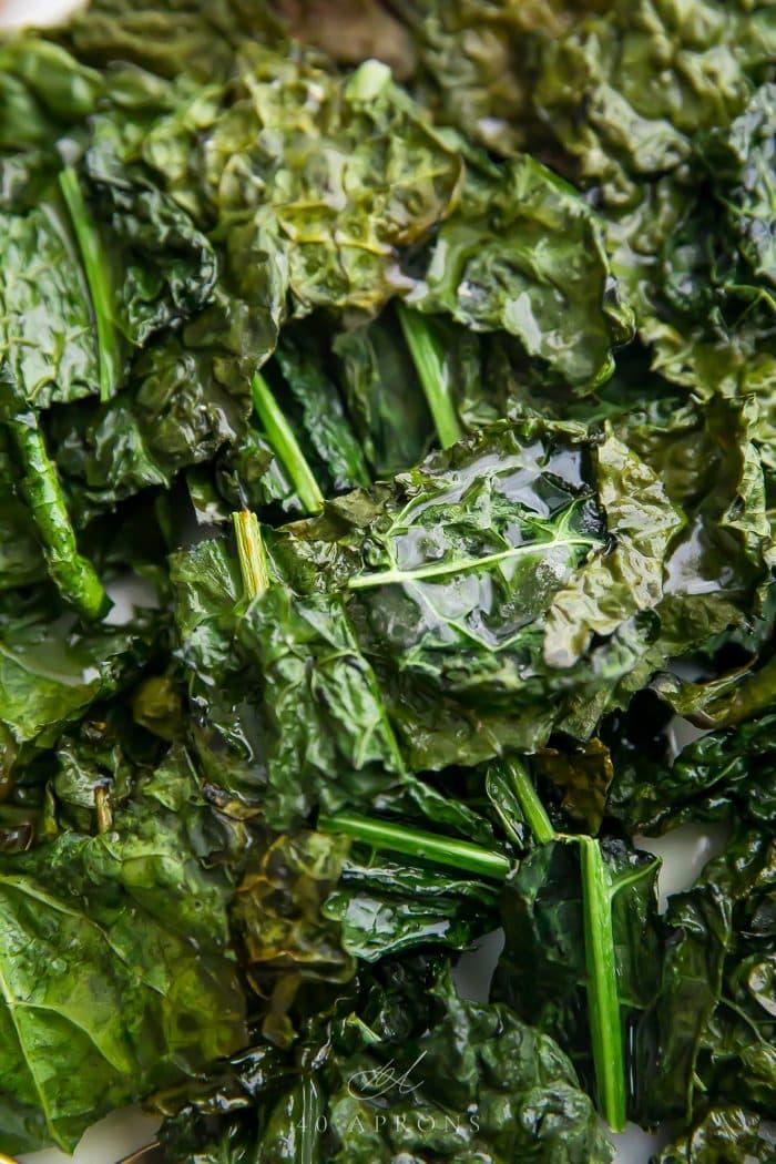 Close up of crispy kale chips