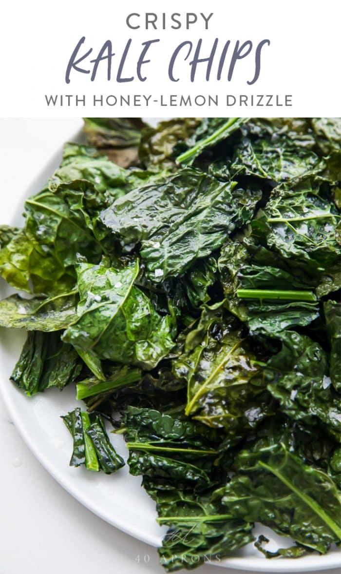 Crispy kale chips Pinterest graphic