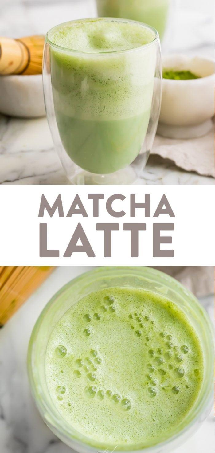 Matcha latte Pinterest graphic