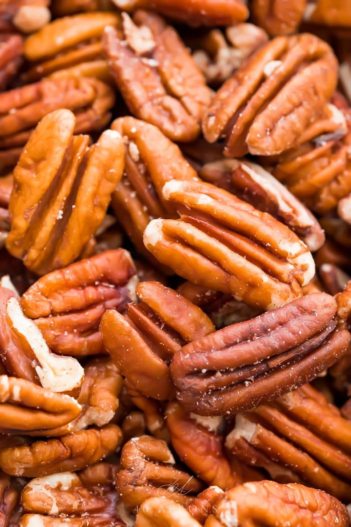 Close up of buttery toasted pecans