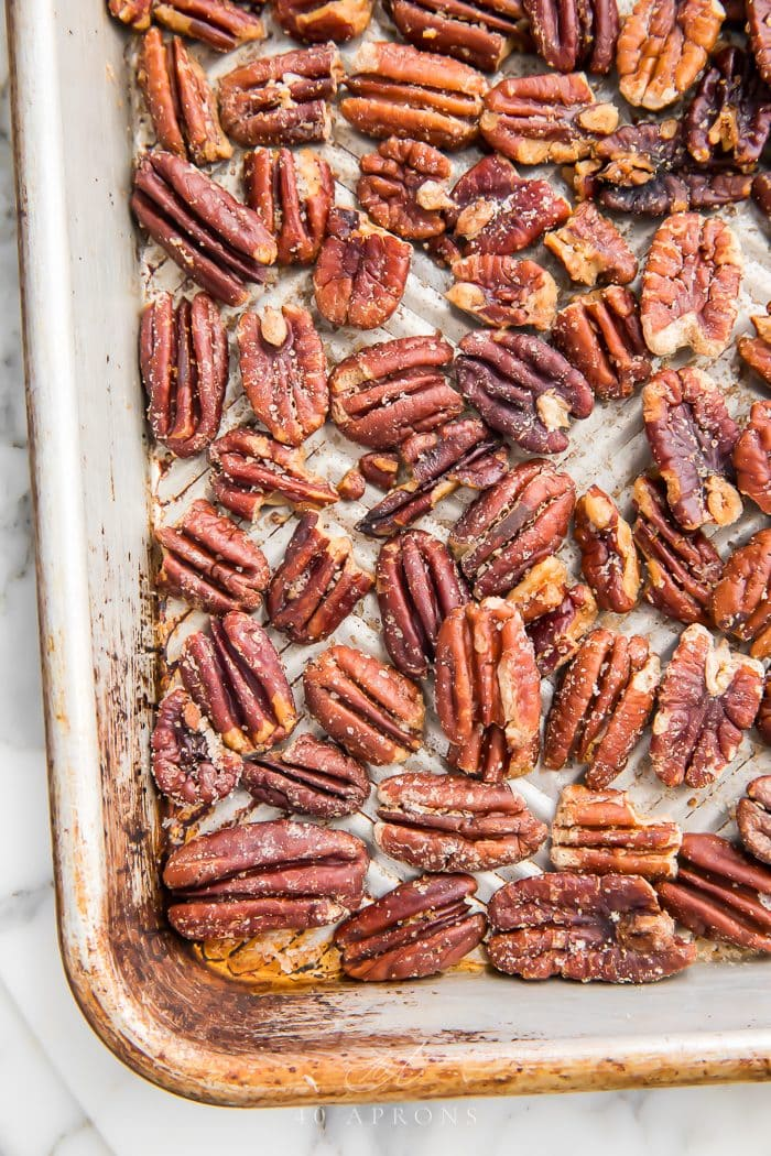 Pecans on a sheet pan