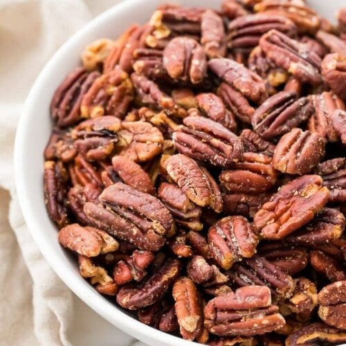 Toasted pecans in a serving dish