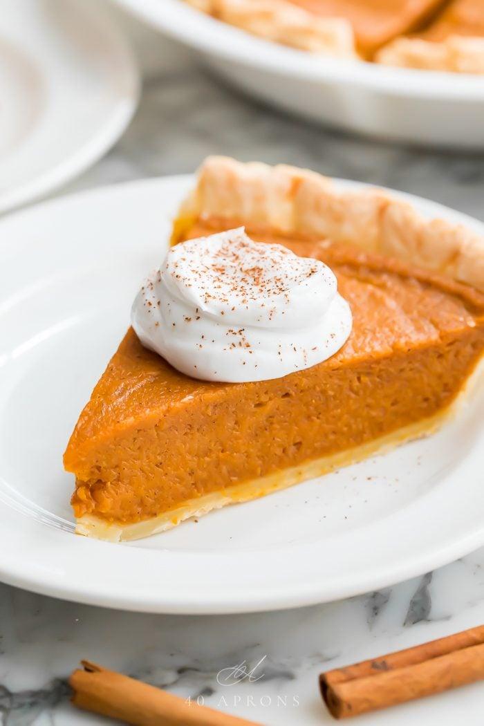 Close up of a slice of vegan pumpkin pie