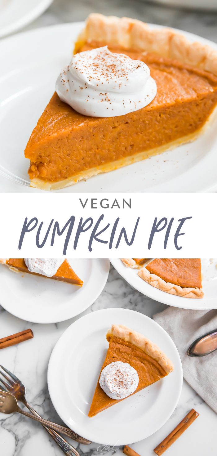 Vegan pumpkin pie Pinterest graphic