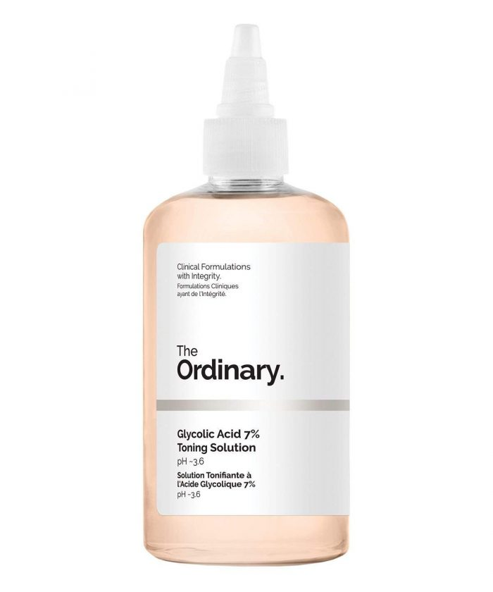 a bottle of The Ordinary Glycolic Acid Toner against a white background